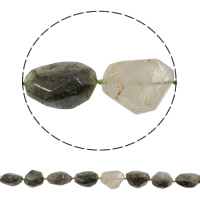 Natürliche Moos Achat Perlen, 20x20x18mm-21x31x18mm, Bohrung:ca. 1mm, ca. 13PCs/Strang, verkauft per ca. 16.7 ZollInch Strang