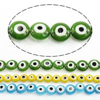 Böser Blick Lampwork Perlen, flache Runde, böser Blick- Muster & verschiedene Größen vorhanden, keine, Länge:ca. 16 ZollInch, verkauft von Menge