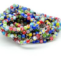 Chevron Glasperlen, rund, gemischte Farben, 6mm, Bohrung:ca. 1-1.2mm, Länge:ca. 13 ZollInch, 5SträngeStrang/Menge, 60PCs/Strang, verkauft von Menge