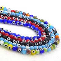 Böser Blick Lampwork Perlen, rund, böser Blick- Muster & verschiedene Stile für Wahl, frei von Nickel, Blei & Kadmium, 6mm, Bohrung:ca. 1-1.2mm, Länge:ca. 14 ZollInch, 10SträngeStrang/Menge, ca. 66PCs/Strang, verkauft von Menge