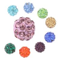 Strass Ton befestigte Perlen, Lehm pflastern, rund, verschiedene Größen vorhanden & mit Strass, keine, Bohrung:ca. 1mm, 50PCs/Tasche, verkauft von Tasche