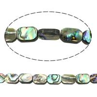 Seeohr Muschel Perle, Rechteck, natürlich, 8x12x3-4mm, Bohrung:ca. 1mm, Länge:ca. 15.3 ZollInch, 2SträngeStrang/Menge, ca. 32PCs/Strang, verkauft von Menge