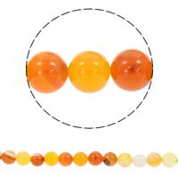 Natürliche Streifen Achat Perlen, rund, synthetisch, verschiedene Größen vorhanden, orange, Bohrung:ca. 1mm, verkauft per ca. 15 ZollInch Strang