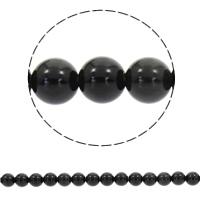 Schwarze Obsidian Perlen, Schwarzer Obsidian, rund, synthetisch, verschiedene Größen vorhanden, Bohrung:ca. 1mm, verkauft per ca. 15 ZollInch Strang