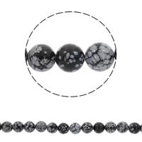 Schneeflocke Obsidian Perle, rund, synthetisch, verschiedene Größen vorhanden, Bohrung:ca. 1mm, verkauft per ca. 15 ZollInch Strang