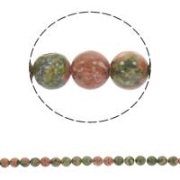 Unakit Perlen, Unakite, rund, synthetisch, verschiedene Größen vorhanden, Bohrung:ca. 1mm, verkauft per ca. 15 ZollInch Strang