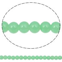 Mode Glasperlen, Glas, rund, hellgrün, 8mm, Bohrung:ca. 1mm, Länge:ca. 32.6 ZollInch, 10SträngeStrang/Tasche, ca. 106PCs/Strang, verkauft von Tasche