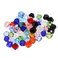 Doppelkegel Kristallperlen, Kristall, facettierte, mehrere Farben vorhanden, 4x4mm, Bohrung:ca. 1mm, 50PCs/Tasche, verkauft von Tasche