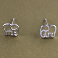 Messing Ohrstecker, mit Kunststoff Ohrmutter, Elephant, versilbert, gebürstet, 7.7x6.5mm, verkauft von Paar