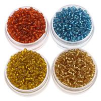 Silbereinzug Glas Rocailles, Glas-Rocailles, rund, keine, 2x3mm, Bohrung:ca. 1mm, ca. 1600PCs/Tasche, verkauft von Tasche