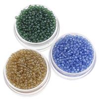 Glänzende Glas-Rocailles, rund, Schimmer, keine, 2x1.9mm, Bohrung:ca. 1mm, ca. 3000PCs/Tasche, verkauft von Tasche