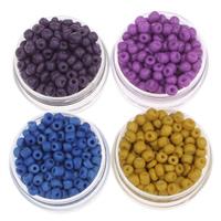 Volltonfarbe Glas Rocailles, Glas-Rocailles, rund, keine, 3x3.6mm, Bohrung:ca. 1.5mm, ca. 5000PCs/Tasche, verkauft von Tasche