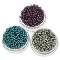 Plattierte Glas Rocailles, Glas-Rocailles, rund, keine, 2x3mm, Bohrung:ca. 1mm, ca. 15000PCs/Tasche, verkauft von Tasche