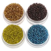 Silbereinzug Glas Rocailles, Glas-Rocailles, rund, keine, 2x1.9mm, Bohrung:ca. 1mm, ca. 30000PCs/Tasche, verkauft von Tasche
