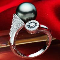 Tahiti Perlen Manschette Fingerring, mit Messing, rund, silberfarben plattiert, natürliche & Micro pave Zirkonia, schwarz, 10-11mm, Größe:7-9, verkauft von PC