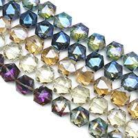 Sechskant Kristallperlen, Kristall, Sechseck, bunte Farbe plattiert, facettierte, mehrere Farben vorhanden, 18x20x10mm, Bohrung:ca. 1.5mm, ca. 30PCs/Strang, verkauft per ca. 22 ZollInch Strang