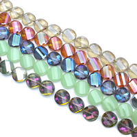 Torsion-Kristall-Perlen, Kristall, Twist, bunte Farbe plattiert, facettierte, mehrere Farben vorhanden, 18x8mm, Bohrung:ca. 1mm, ca. 35PCs/Strang, verkauft per ca. 24 ZollInch Strang