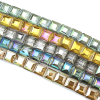 Kristall-Perlen, Kristall, Quadrat, bunte Farbe plattiert, facettierte, mehrere Farben vorhanden, 13x8mm, Bohrung:ca. 1mm, ca. 50PCs/Strang, verkauft per ca. 25.5 ZollInch Strang
