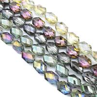Kristall-Perlen, Kristall, Pendular Lochrose, bunte Farbe plattiert, facettierte, mehrere Farben vorhanden, 13x18x9mm, Bohrung:ca. 1.5mm, ca. 35PCs/Strang, verkauft per ca. 24 ZollInch Strang