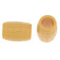 Imitation Ox Bone Acryl-Perlen, Acryl, Zylinder, Imitation Rind Knochen & großes Loch, gelb, 16x11mm, Bohrung:ca. 7mm, 2Taschen/Menge, ca. 530PCs/Tasche, verkauft von Menge