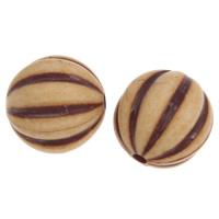 Imitation Ox Bone Acryl-Perlen, Acryl, rund, Imitation Rind Knochen & gewellt, hell Kaffee, 20mm, Bohrung:ca. 3mm, 2Taschen/Menge, ca. 130PCs/Tasche, verkauft von Menge