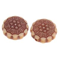 Imitation Ox Bone Acryl-Perlen, Acryl, Blume, Imitation Rind Knochen, Kaffeefarbe, 15x6mm, Bohrung:ca. 1mm, 2Taschen/Menge, ca. 430PCs/Tasche, verkauft von Menge