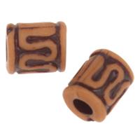 Imitation Ox Bone Acryl-Perlen, Acryl, Zylinder, Imitation Rind Knochen, Kaffeefarbe, 6x5.5mm, Bohrung:ca. 2mm, 2Taschen/Menge, ca. 4099PCs/Tasche, verkauft von Menge