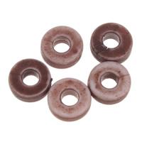 Imitation Ox Bone Acryl-Perlen, Acryl, Kreisring, Imitation Rind Knochen, dunkle Kaffee-Farbe, 6x2mm, Bohrung:ca. 2mm, 2Taschen/Menge, ca. 8990PCs/Tasche, verkauft von Menge