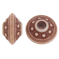 Imitation Ox Bone Acryl-Perlen, Acryl, Rondell, Imitation Rind Knochen & großes Loch, Kaffeefarbe, 8.5x14mm, Bohrung:ca. 4mm, 2Taschen/Menge, ca. 820PCs/Tasche, verkauft von Menge