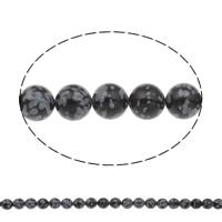 Schneeflocke Obsidian, rund, natürlich, verschiedene Größen vorhanden, Bohrung:ca. 1mm, Länge:ca. 15 ZollInch, verkauft von Tasche