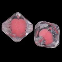 Perlen in Perlen Acrylperlen, Acryl, Doppelkegel, facettierte, Rosa, 13x12mm, Bohrung:ca. 1mm, 2Taschen/Menge, ca. 490PCs/Tasche, verkauft von Menge