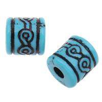 Antike Acrylperlen, Acryl, Zylinder, großes Loch & antik imitieren, blau, 12mm, Bohrung:ca. 4mm, 2Taschen/Menge, ca. 380PCs/Tasche, verkauft von Menge