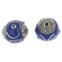 Indonesien Perlen, mit Zinklegierung, rund, antik silberfarben plattiert, mit Strass, 16x15mm, Bohrung:ca. 2mm, verkauft von PC