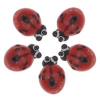 Tier Lampwork Perlen, Marienkäfer, handgemacht, uneben, frei von Nickel, Blei & Kadmium, 10x12x9mm, Bohrung:ca. 1mm, verkauft von PC