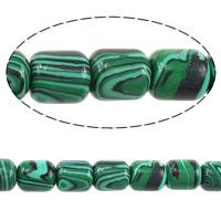 Malachit Perlen, Zylinder, 14x12x12mm, Bohrung:ca. 2mm, Länge:ca. 15.5 ZollInch, 3SträngeStrang/Menge, ca. 28PCs/Strang, verkauft von Menge