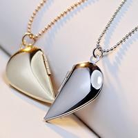 Mode Medaillon Halskette, Messing, mit Verlängerungskettchen von 2lnch, Herz, plattiert, mit Foto-Medaillon & Kugelkette, keine, frei von Nickel, Blei & Kadmium, 25x15mm, verkauft per ca. 17 ZollInch Strang