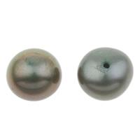 Halbgebohrte Süßwasser Zuchtperlen, Natürliche kultivierte Süßwasserperlen, Knopf, dunkelgrün, 8.5-9mm, Bohrung:ca. 1mm, verkauft von Paar