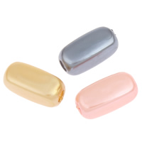 Imitation Acryl-Perlen, Acryl, Rechteck, Nachahmung Perle & großes Loch, gemischte Farben, 17x8mm, Bohrung:ca. 5mm, 2Taschen/Menge, ca. 700PCs/Tasche, verkauft von Menge