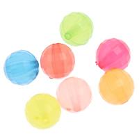 Gelee-Stil-Acryl-Perlen, Acryl, rund, facettierte & transluzent, gemischte Farben, 10mm, Bohrung:ca. 1mm, 2Taschen/Menge, ca. 1000PCs/Tasche, verkauft von Menge