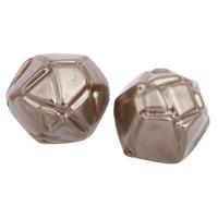 Imitation Acryl-Perlen, Acryl, Nachahmung Perle, Kaffeefarbe, 20x19x18mm, Bohrung:ca. 1mm, 2Taschen/Menge, ca. 150PCs/Tasche, verkauft von Menge