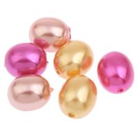 Imitation Acryl-Perlen, Acryl, oval, Nachahmung Perle, keine, 12x11mm, Bohrung:ca. 1mm, 2Taschen/Menge, ca. 600PCs/Tasche, verkauft von Menge