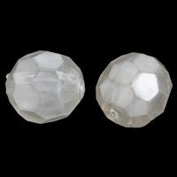 Imitation Acryl-Perlen, Acryl, oval, Nachahmung Perle & facettierte, weiß, 14x13mm, Bohrung:ca. 2mm, 2Taschen/Menge, ca. 300PCs/Tasche, verkauft von Menge