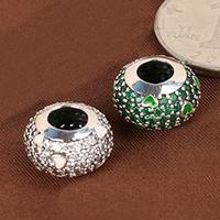 Befestiger Zirkonia Sterlingsilber Perlen, 925 Sterling Silber, Trommel, mit einem Muster von Herzen & Micro pave Zirkonia & Emaille, gemischte Farben, 14x19mm, Bohrung:ca. 6mm, 3PCs/Menge, verkauft von Menge