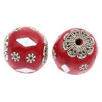 Indonesien Perlen, mit Zinklegierung, rund, antik silberfarben plattiert, 17x18mm, Bohrung:ca. 2mm, 100PCs/Tasche, verkauft von Tasche
