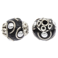 Indonesien Perlen, mit Zinklegierung, oval, plattiert, 16x14mm, Bohrung:ca. 2mm, 100PCs/Tasche, verkauft von Tasche