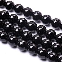 Natürliche schwarze Achat Perlen, Schwarzer Achat, rund, verschiedene Größen vorhanden, Grade AAAAAA, Bohrung:ca. 1mm, verkauft per ca. 15 ZollInch Strang
