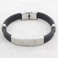 Herren-Armband & Bangle, Edelstahl, mit Silikon, schwarz, 42x12x5mm, verkauft per ca. 7.5 ZollInch Strang