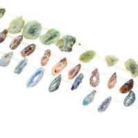 Druzy Beads, Eisquarz Achat, natürlich, druzy Stil, keine, 11x25x6mm-18x45x5mm, Bohrung:ca. 1.5-2mm, ca. 19PCs/Strang, verkauft per ca. 15.5 ZollInch Strang