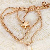 Edelstahl Schmuck Halskette, Stern, Rósegold-Farbe plattiert, Oval-Kette, 9mm, verkauft per ca. 16.14 ZollInch Strang