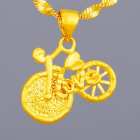 24 k-Gold überzogene hängende Farbe, Messing, Fahrrad, Wort Liebe, 24 K vergoldet, Vakuum Protektor Farbe & gehämmert, 19x15mm, Bohrung:ca. 3x5mm, 10PCs/Menge, verkauft von Menge